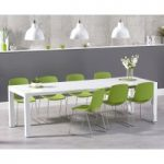 Joseph Extending White High Gloss Dining Table with Nordic Chrome Sled Leg Chairs