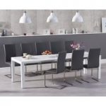 Joseph Extending White High Gloss Dining Table with Malaga Chairs