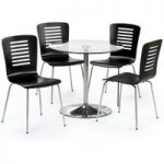 Prestigio 80cm Round Chrome and Glass Dining Table and Chairs