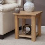 Marseille Solid Oak Square Lamp Table with Shelf