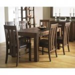 Lyon Walnut 150cm Dining Table with 6 Slatted Chairs