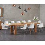 Madrid 200cm Oak Extending Dining Table with Celine Chrome Leg Chairs