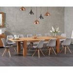 Madrid 200cm Oak Extending Dining Table with Oscar Fabric Round Leg Chairs