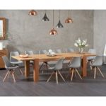 Madrid 200cm Oak Extending Dining Table with Oscar Fabric Square Leg Chairs