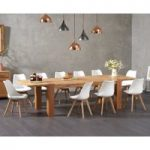 Madrid 200cm Oak Extending Dining Table with Duke Faux Leather Chairs
