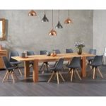 Madrid 200cm Oak Dining Table with Oscar Faux Leather Square Leg Chairs