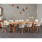 Madrid 200cm Oak Extending Dining Table with Oscar Faux Leather Round Leg Chairs