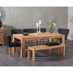 Madrid 200cm Solid Oak Dining Table with Isobel Fabric Chairs and Verona Oak Bench