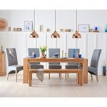 Madrid 200cm Solid Oak Dining Table With Benches And Cannes Chairs