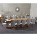 Madrid 240cm Solid Oak Extending Dining Table with Camille Fabric Chairs
