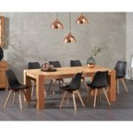Madrid 200cm Oak Dining Table with Duke Faux Leather Chairs