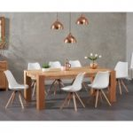 Madrid 200cm Oak Dining Table with Oscar Faux Leather Round Leg Chairs