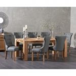 Madrid 200cm Solid Oak Dining Table with Camille Grey Faux Leather Chairs