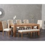 Madrid 200cm Solid Oak Dining Table with Claudia Fabric Chairs with Camille Cream Fabric Bench