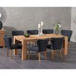 Madrid 200cm Solid Oak Dining Table with Isobel Fabric Chairs