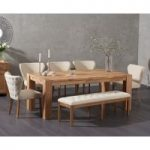 Madrid 200cm Solid Oak Dining Table with Isobel Fabric Chairs and Camille Cream Fabric Bench