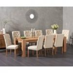 Madrid 240cm Solid Oak Extending Dining Table with Claudia Fabric Chairs