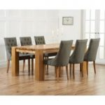 Madrid 240cm Solid Oak Dining Table with Pacific Fabric Chairs