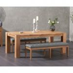Madrid 200cm Solid Oak Dining Table with Camille Grey Faux Leather Benches