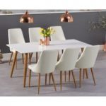 Malmo 180cm Matt White Dining Table with Ashford Faux Leather Wooden Leg Chairs