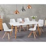 Malmo 180cm Matt White Dining Table with Oscar Faux Leather Round Leg Chairs