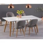 Malmo 180cm Matt White Dining Table with Halifax Fabric Wooden Leg Chairs