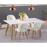 Malmo 180cm Matt White Dining Table with Halifax Faux Leather Wooden Leg Chairs