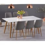 Malmo 180cm Matt White Dining Table with Helsinki Fabric Wooden Leg Chairs