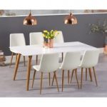 Malmo 180cm Matt White Table with Helsinki Faux Leather Wooden Leg Dining Chairs