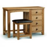 Minnesota Oak Single Pedestal Dressing Table and Leather Stool