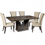 Maretto 160cm Marble-Effect Dining Table with Alpine Leather Chairs