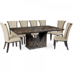 Maretto 220cm Marble-Effect Dining Table with Alpine Chairs