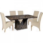 Maretto 160cm Marble-Effect Dining Table with Cannes Chairs