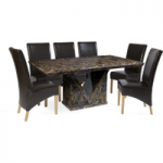 Maretto 220cm Marble-Effect Dining Table with Cannes Chairs
