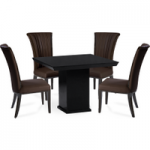 Napoli Black Square Marble-Effect Dining Table with Alpine Chairs