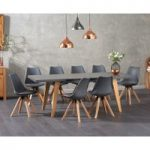 Nicole Extending Grey Dining Table with Oscar Faux Leather Square Leg Chairs