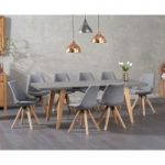 Nicole Extending Grey Dining Table with Oscar Fabric Square Leg Chairs