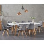 Nicole Extending White Dining Table with Duke Fabric Chairs