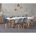 Ex-display Nicole Extending White Dining Table with FOUR CREAM Oscar Fabric Square Leg Chairs