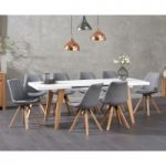 Nicole Extending White Dining Table with Oscar Fabric Square Leg Chairs