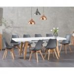 Nicole Extending White Dining Table with Duke Faux Leather Chairs