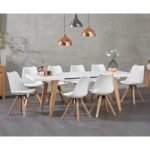Nicole Extending White Dining Table with Oscar Faux Leather Square Leg Chairs