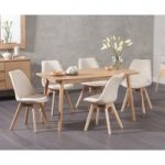 Nordic 150cm Oak Dining Table with Duke Fabric Chairs