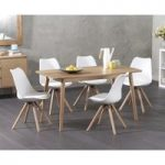 Nordic 150cm Oak Dining Table with Oscar Faux Leather Round Leg Chairs
