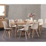 Nordic 180cm Oak Dining Table with Duke Fabric Chairs
