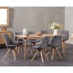 Nordic 180cm Oak Dining Table with Oscar Fabric Round Leg Chairs