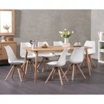 Nordic 180cm Oak Dining Table with Oscar Faux Leather Round Leg Chairs