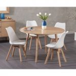Nordic 120cm Round Oak Dining Table with Duke Faux Leather Chairs