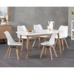 Nordic 150cm Oak and White Dining Table with Duke Faux Leather Chairs