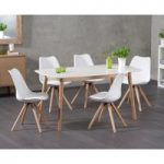 Nordic 150cm Oak and White Dining Table with Oscar Faux Leather Round Leg Chairs